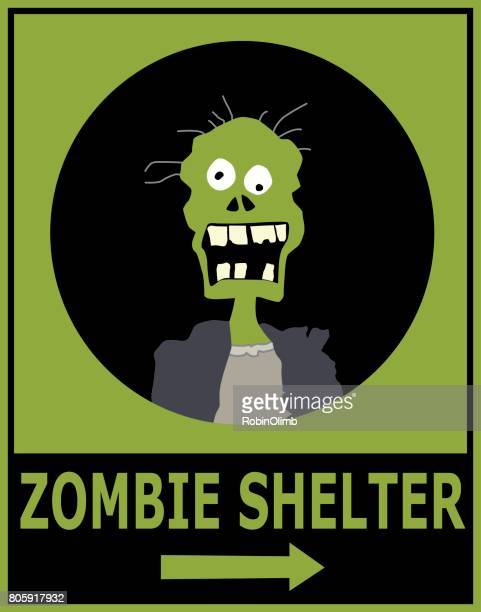 zombie shelter sign - zombie stock illustrations, clip art, cartoons, & icons