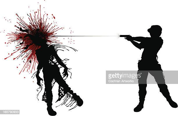 zombie: shot in the head! - zombie stock illustrations, clip art, cartoons, & icons