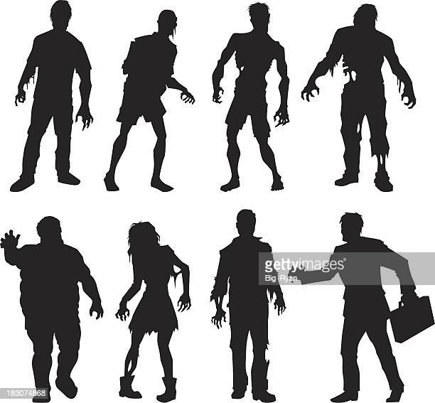 zombie silhouettes - zombie stock illustrations, clip art, cartoons, & icons