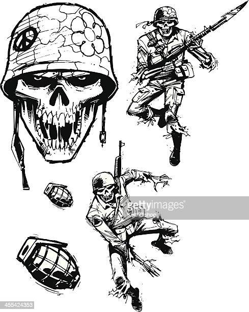 zombie soldiers - army men - army helmet stock illustrations, clip art, cartoons, & icons