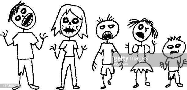 zombie stick figures - zombie stock illustrations, clip art, cartoons, & icons