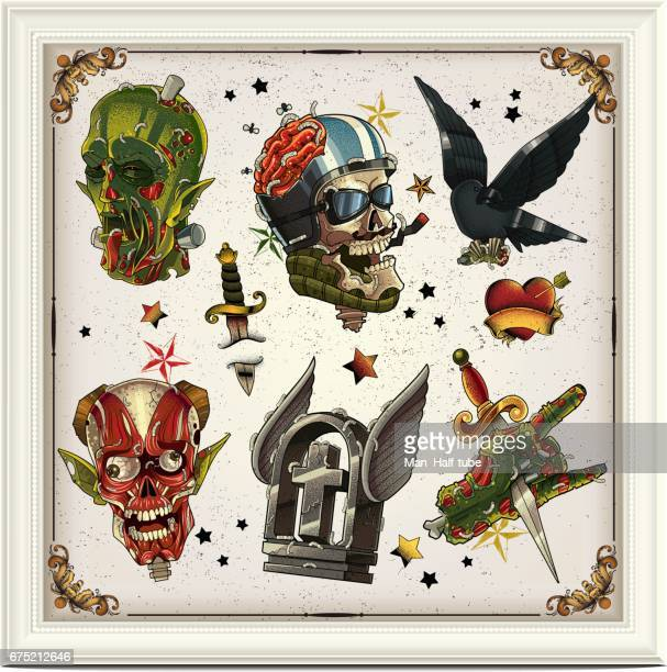 zombie tattoo set - motorcycle rider stock illustrations, clip art, cartoons, & icons