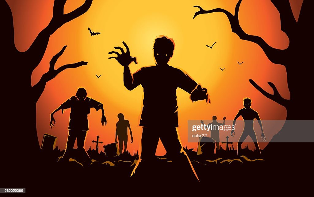 Zombie walking out from grave.