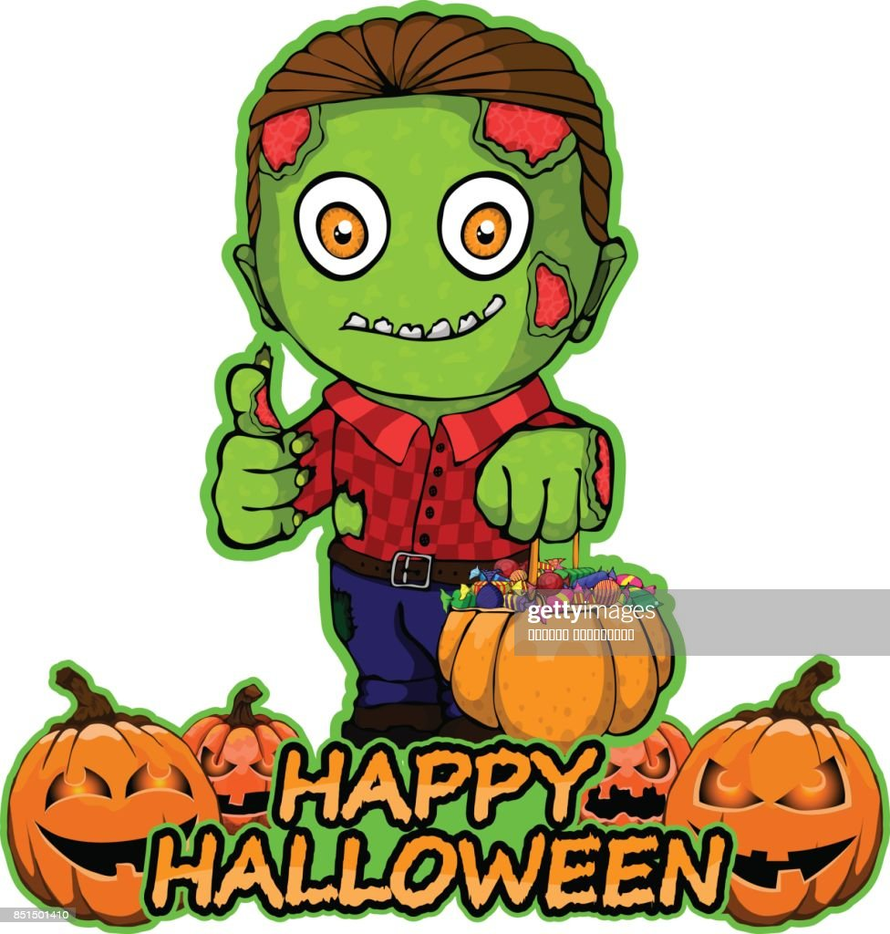 Zombie wants a happy Halloween on an isolated white background