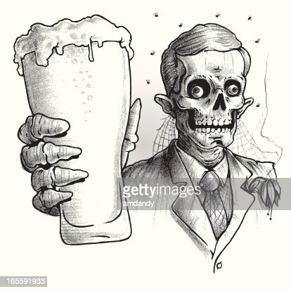 zombie wearing suit drinking glass of beer black and white