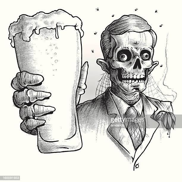 Zombie trägt Anzug trinkt ein gutes Glas Bier, schwarz und weiß