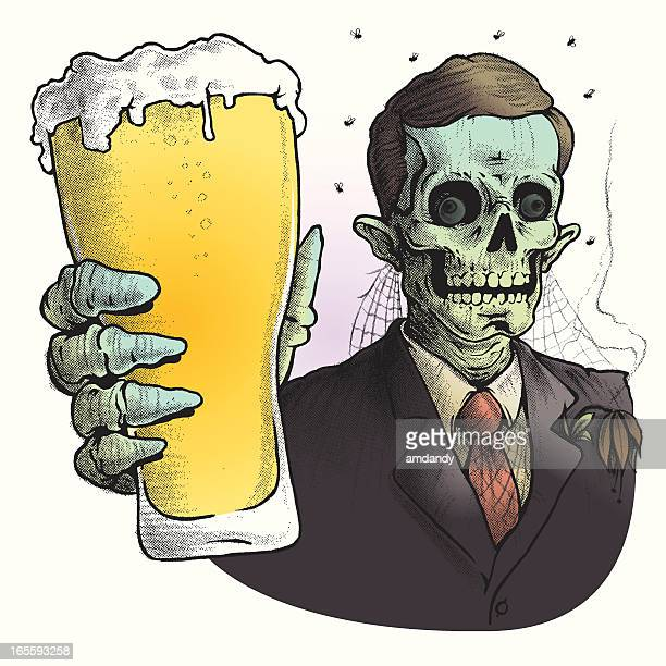zombie wearing suit drinking glass of beer - beer alcohol stock illustrations, clip art, cartoons, & icons