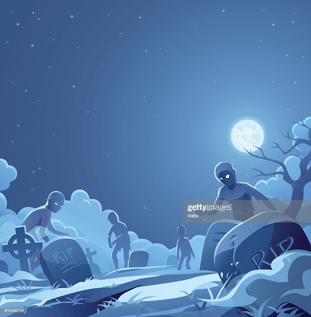 Zombies In A Cemetery : Stock Illustration