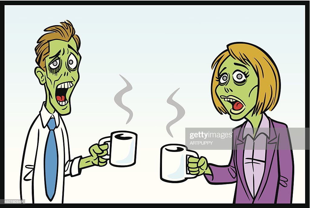 Zomibe Workers With Coffee : stock illustration