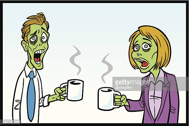zomibe workers with coffee - monday stock illustrations