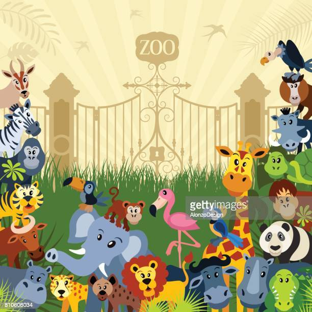zoo animal characters - zoo stock illustrations