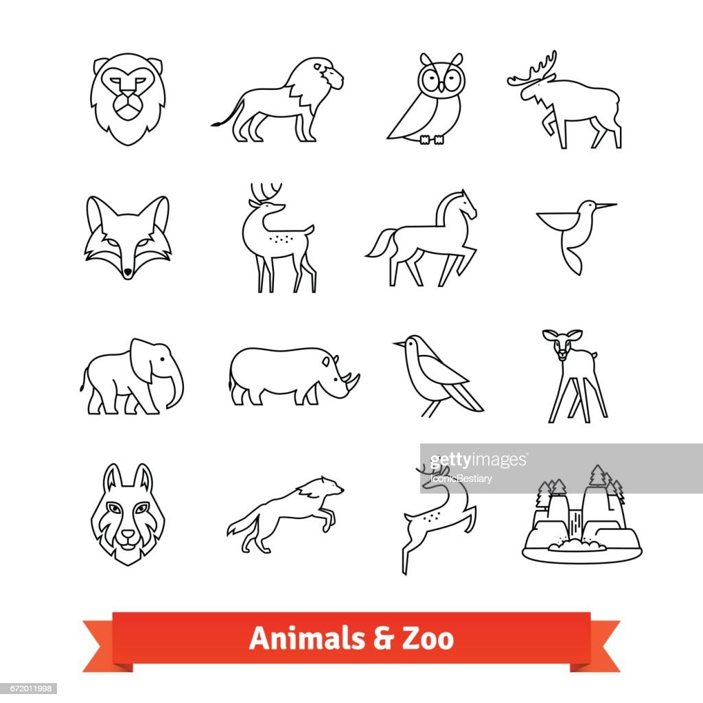 Zoo animals and birds. Thin line art icons set