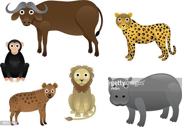 zoo tiere aus afrika - chimpanzee stock-grafiken, -clipart, -cartoons und -symbole