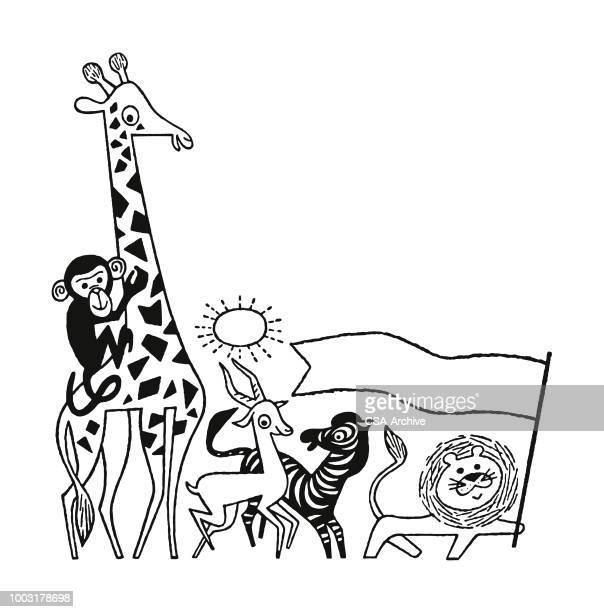 illustrations, cliparts, dessins animés et icônes de animaux du zoo - girafe