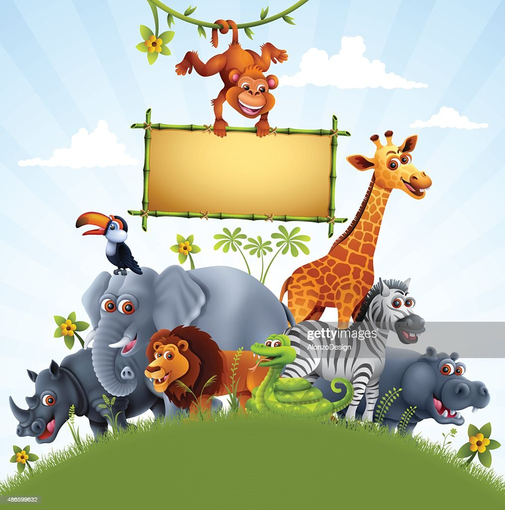Zoo Animals with Bamboo Sign : stock illustration
