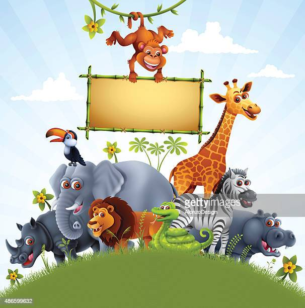 Zoo Animals with Bamboo Sign