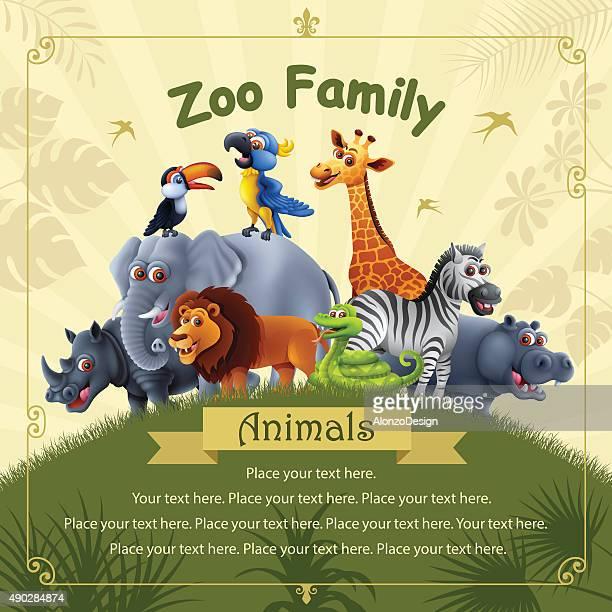 ilustraciones, imágenes clip art, dibujos animados e iconos de stock de zoológico de familia - fauna silvestre