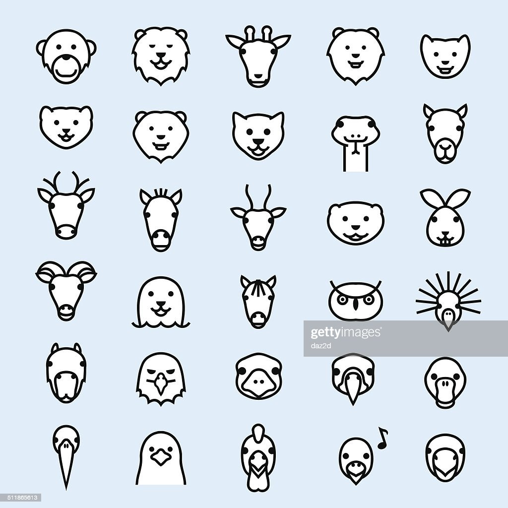 Zoo Outline Symbol Set