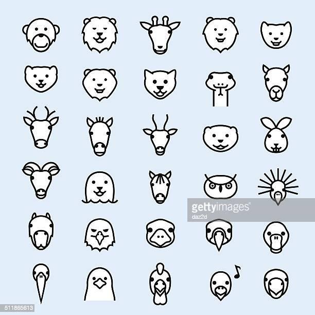 zoo outline symbol set - animal head stock illustrations
