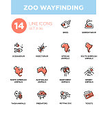 Zoo wayfinding - modern vector single line icons set