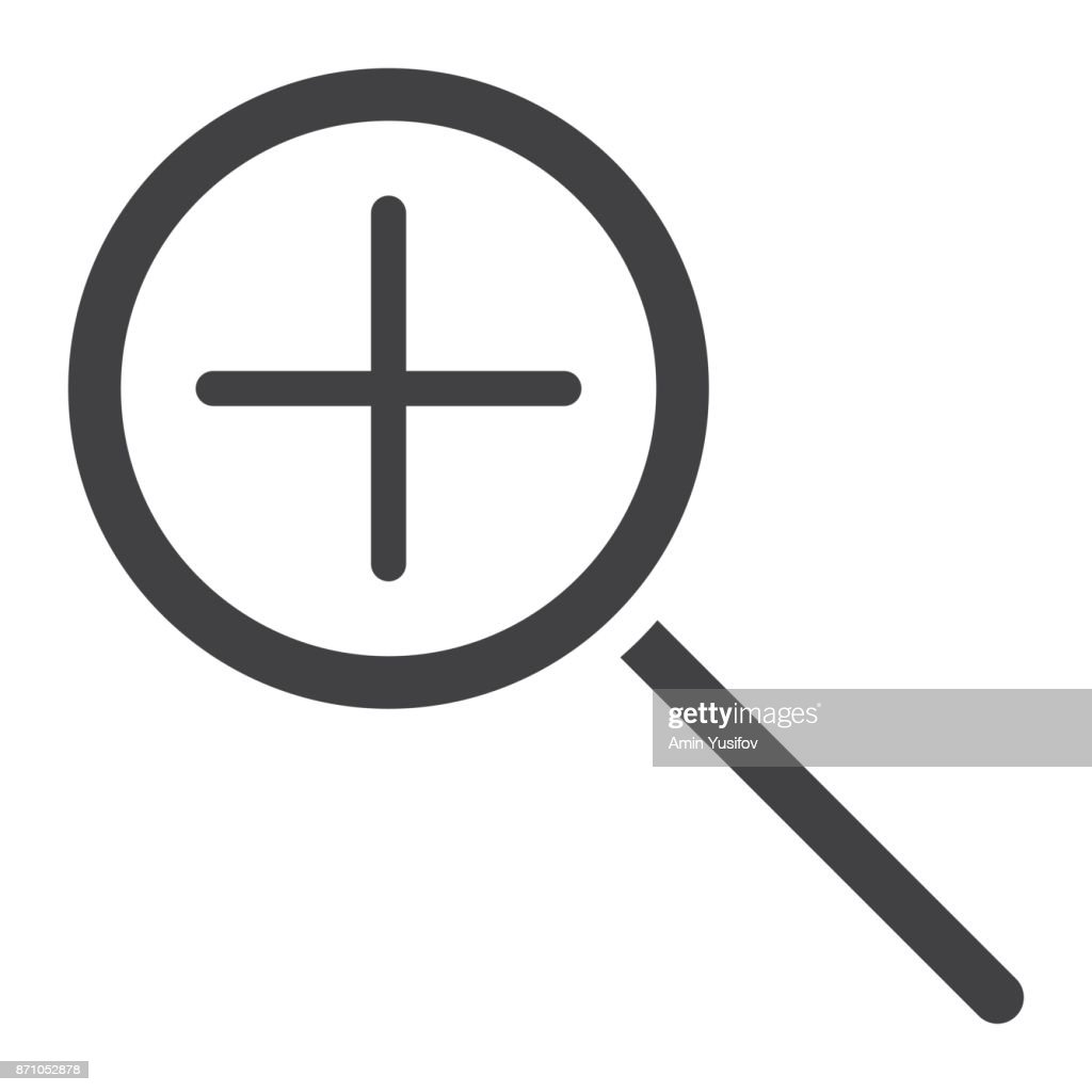 Zoom In glyph icon, web and mobile, magnifying sign vector graphics, a solid pattern on a white background, eps 10.
