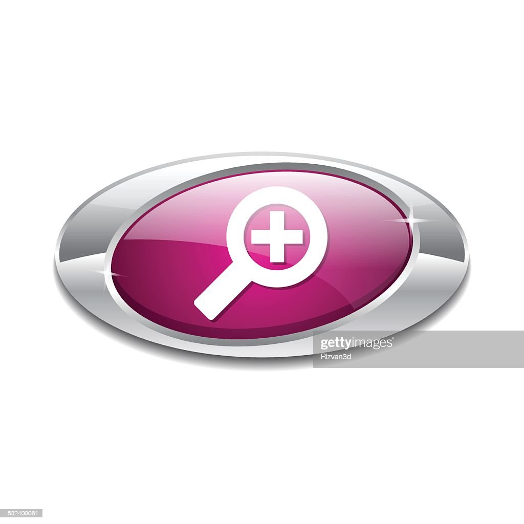Zoom In Pink Vector Icon Button