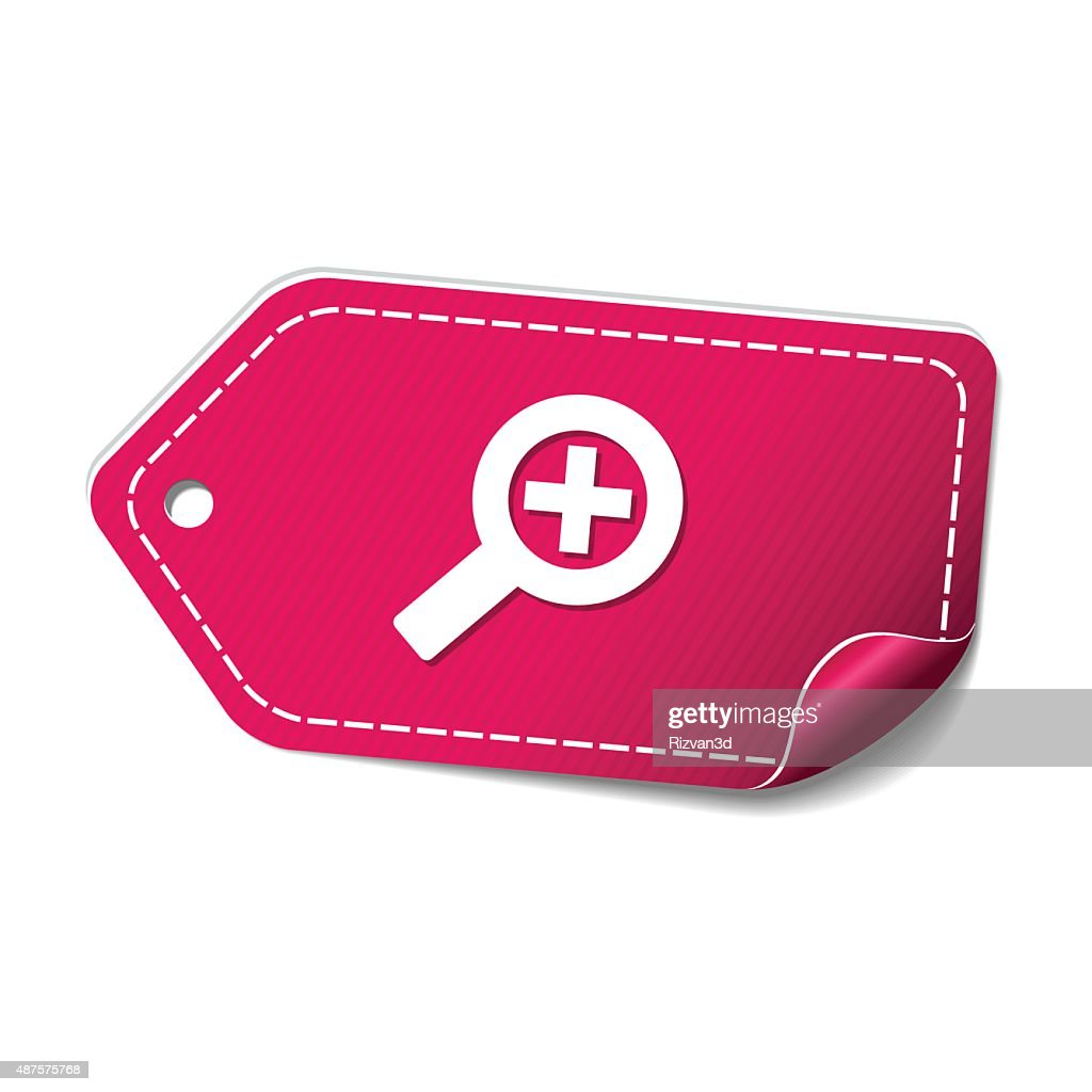 Zoom In Pink Vector Icon Design