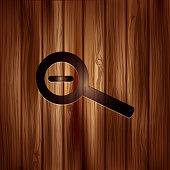Zoom out icon. Search loupe. Wooden texture.