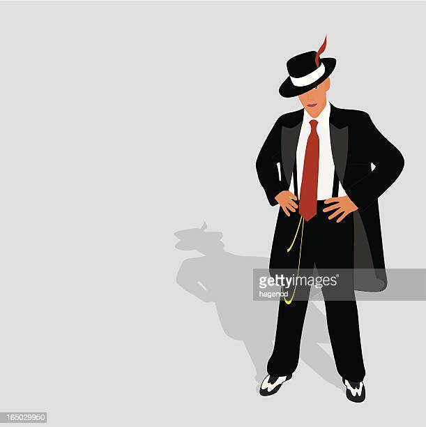 zoot suit 2 - gangster stock illustrations