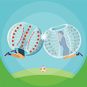 Zorbing illustration. Two man play zorbing soccer
