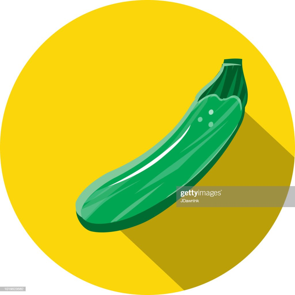 Zucchini squash Vegetables Flat Design themed Icon with shadow : stock illustration