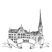 Zurich. City landmark label. Symbol of the capital of Switzerland.