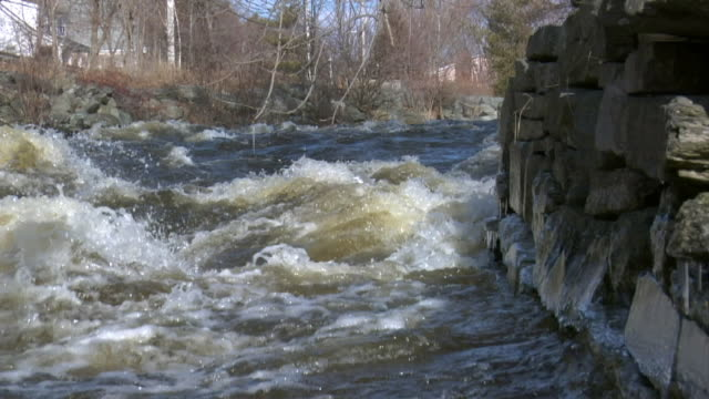 medium angle of water in stream, river, or creek. water splashes. current. stone or rock wall or embankment in fg. bare tree branches in bg. could be canal. could be in woods. rapids. - bare tree stock-videos und b-roll-filmmaterial