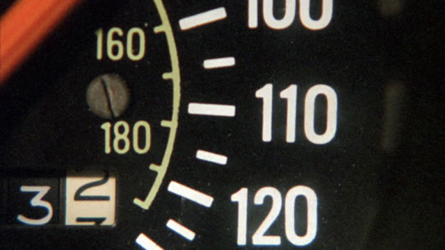 close angle of car speedometer. speed fluctuates up to one hundred and twenty miles per hour. neg cut. - speedometer stock videos & royalty-free footage