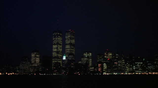 wide angle of new york city skyline. world trade center visible in shot. - world trade center manhattan stock videos & royalty-free footage
