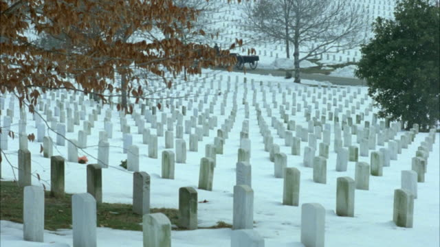 wide angle of arlington national cemetery with snow. military funeral procession goes from right to left in background. horses draw caisson. - funeral procession stock videos & royalty-free footage