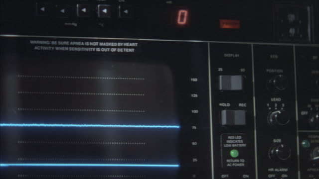 "close angle of medical equipment or cardiac monitor or heart monitor measuring heart beat. numbers start at 16 on top center and down to 0. cardiogram waves flat or horizontal line on bottom left screen. green ""on"" button blinks next to numbers and stops - pulse trace stock videos & royalty-free footage"