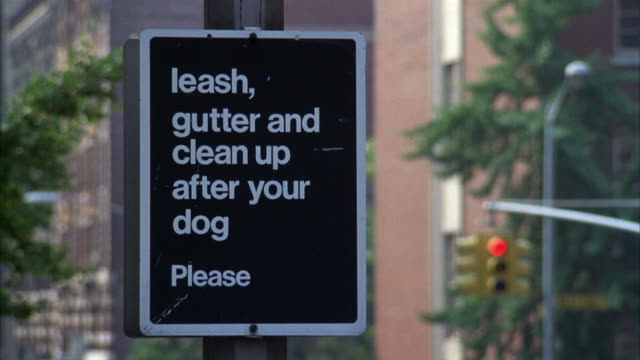 MEDIUM ANGLE OF SIGN THAT READS 'LEASH, GUTTER AND CLEAN UP AFTER YOUR DOG PLEASE'. SEE STREET SIGNAL, TREES AND BUILDINGS IN BACKGROUND.