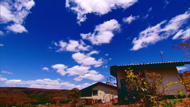 TIME-LAPSE - HOUSE IN COUNTRYSIDE AND BLUE SKY