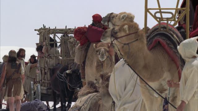 pan down from sky to desert caravan selling slaves to roman soldiers. camels carrying packs. people locked in cage in bg. oxen pulling cage of people. soldiers. sand dunes in bg. - 古代ローマ様式点の映像素材/bロール
