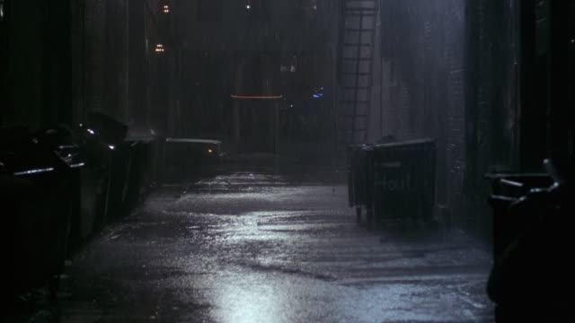 medium angle of heavy rain falling in alley. see trash dumpsters. see fire escape and brick walls. see water accumulating on ground. see pedestrians with umbrellas walk by on sidewalk. see cars travel on street by opening of alley in background. - alley stock videos & royalty-free footage