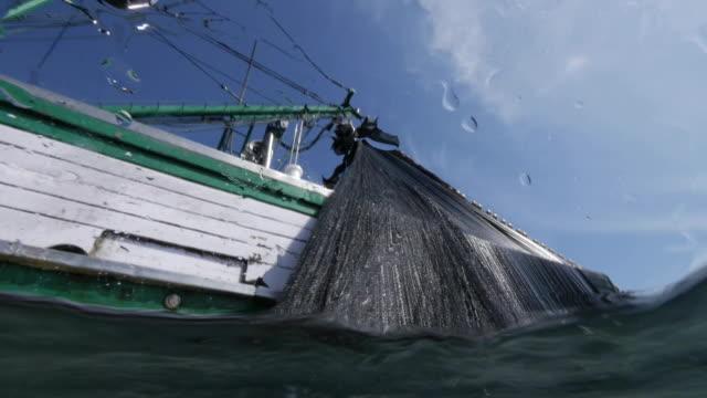 vídeos de stock e filmes b-roll de fishermen pull fishing net onto boat - rede de pesca objeto manufaturado