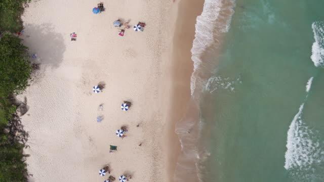 stockvideo's en b-roll-footage met brazil - rio de janeiro - aerial view of prainha - zonnescherm gefabriceerd object