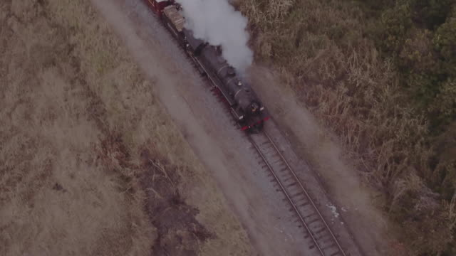 brazil - drone aerial view of steam train - locomotive stock videos & royalty-free footage