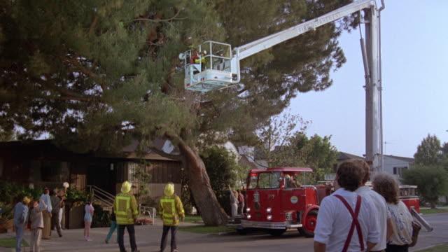 medium angle of fireman riding up in fire truck cherry picker to figure in branches of green tree. - frige bildbanksvideor och videomaterial från bakom kulisserna