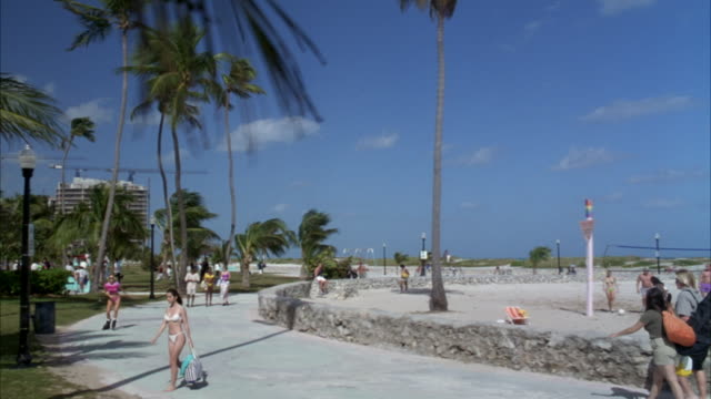 stockvideo's en b-roll-footage met pan right to left establish of miami beach. see sandy beach and palm trees. see volleyball game. - gulf coast states