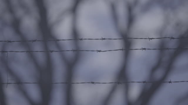 barbed wire and speed hump road sign - barbed wire stock videos & royalty-free footage