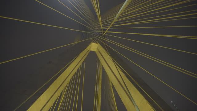 vídeos de stock e filmes b-roll de brazil - são paulo - ponte estaiada  at night - ponte