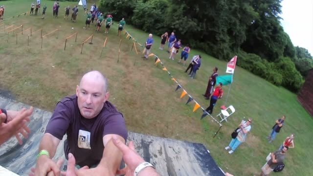 pov obstacle racer up steep ramp - salmini stock videos and b-roll footage