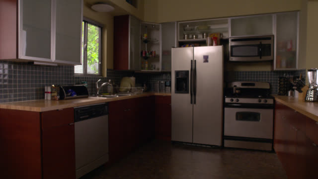 wide angle of kitchen with modern stainless steel appliances. side-by-side fridge with water dispenser. range oven or stove, blender, dish washer, microwave. linoleum flooring. - 電子レンジ点の映像素材/bロール